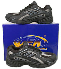 Mens New Lace Up Black Casual Sports Style Trainers Size6 7 8 9 10 11 12 13