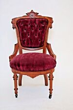 Enchanting Antique Queen Ballroom Parlor Chair Victorian Seat Tufted Velvet