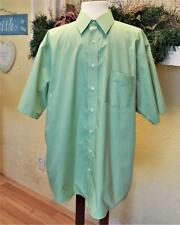 Stafford Size 17 Wrinkle Free Shirt Green Broadcloth Button Front S/S Pocket