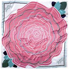 Très Joli Foulard Carré Eléxir Imprimé Rose Galimard 88 x 88 cm