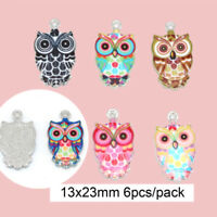 DIY Necklace Making Pendants Owl Cute Jewelry Crafts Charms Color 6pcs Mixed