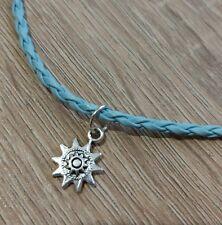 Aztec star necklace faux leather braided cord plait blue antique silver boho