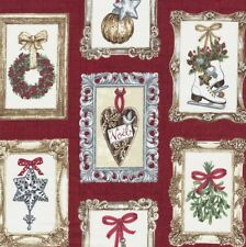 Balmoral Christmas Frames Hearts Wreath Holly & Stars on Red Fabric Makower - FQ