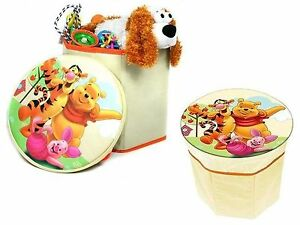 Disney Winnie The Pooh Storage Box Stool Chair Padded Seat Collapsible Storage