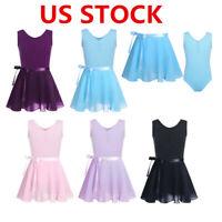 US Girls Gymnastics Ballet Dress Kids Leotard+Tutu Wrap Skirt Dancewear Costume