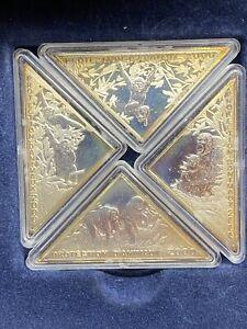 Congo 2000 Chimpanzees 10 Francs Set of 4 Triangle Silver Coins Proof Box COA