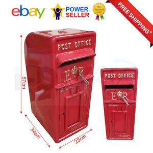 Rolson Cast Iron ER Royal Mail Post Box Postal Box Red British Mailbox