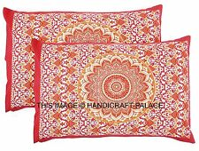 2 PCs Pillow Cover Throw Mandala Cushion Covers Indian Pillows Gypsy Cotton Sham