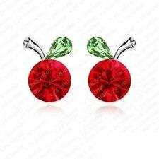 Green Cherry Earrings Fruit Red Designer Stud Green Fashion Jewelry