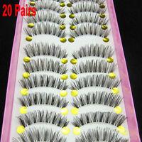 20 Pairs Pretty Long Cross False Eyelashes Makeup Natural Fake Thick Eye Lashes