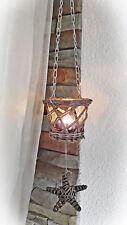 ❀ Hängewindlicht Weide Grau Korb Teelichthalter + Glas Stern Hängeleuchter #204