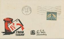SOUTH AFRICA 1947 1 1/2 d Goldmine single postage VF ill. local cover FIRST DAY