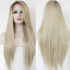 Hot Long Straight Wavy Synthetic Lace Front Wig Light Blonde Full Hair Wigs