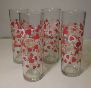 """4 Libbey Vintage Glass Hearts Vase glasses 7"""" Tall Made in USA"""