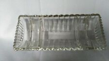 Vintage DESK ACCESSORY Clear Glass Organizer Coin Jewelry 5 Compartment RARE EUC