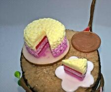 More details for dolls house food vanilla birthday celebration cake on board with slice 1/12 ooak