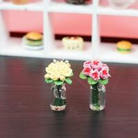 1:12 doll house miniature clay flower yellow/pink rose Low Price