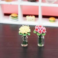1:12 doll house miniature clay flower yellow/pink rose FAST