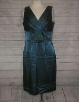 Coldwater Creek Satin Sheath Dress 12 Teal NWT