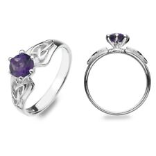 Real Amethyst Ring Celtic Sterling Silver 925 Hallmark Size J - Q Brand New Gift