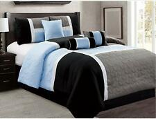 7 Piece Luxury Soft Microfiber Quilted Patchwork Comforter Set,Gray,King Size,