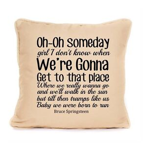 Bruce Springsteen The Boss Fan Born To Run Song Lyrics Cushion Cover