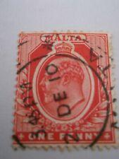 1907 Malta King Edward Vii Definitive 1d Red Used Mi.33, A7C15