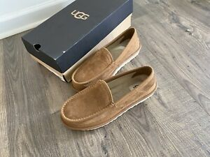 Ugg Australia Mens Loafer Dex 1103901 Chestnut Suede Sheepskin Slippers Brown