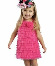 Mud Pie Hot Pink Chiffon Ruffle Dress Size 2T