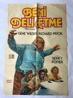 STIR CRAZY 1980s Original Turkish Comedy Movie Poster VERY RARE Gene Wilder SS