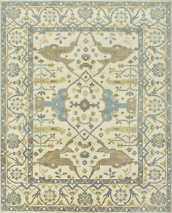 Oushak Rug, 8'x10', Ivory, Hand-Knotted Wool Pile