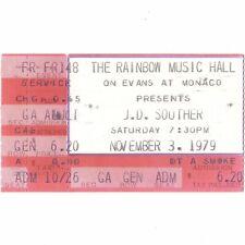 Jd Souther Concert Ticket Stub Boulder 11/3/79 Lyrics For Eagles Linda Ronstadt