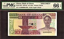 Ghana 10 Cedis 1979 SPECIMEN AA0000000 Pick-20s GEM UNC PMG 66 EPQ