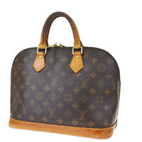 Authentic LOUIS VUITTON LV Alma Hand Bag Monogram Leather Brown M51130 33MG649