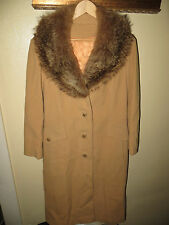 Fashionbilt Womens Wool Camel Long Dress Coat Fox Fur Winter Jacket ILGWU Medium