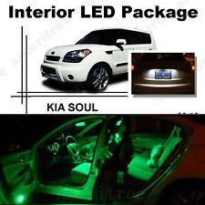 For Kia Soul 2011-2013 Green LED Interior Kit + Xenon White License Light LED
