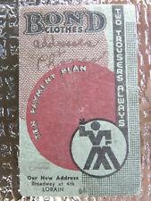 1935 Vintage Bond Clothes Advertising  Memo Note Pad/Calendar Lorain Ohio-EB107
