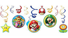 Super Mario Party Supplies SWIRL DECORATIONS Pack Of 12 Genuine Licensed