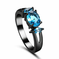 Size 5.5-8.5 Antique 14 kt black gold filled sapphire Cz Women Wedding Ring gift