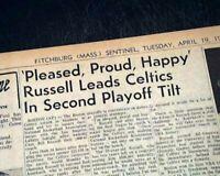BILL RUSSELL Named 1st Black NBA Basketball Coach BOSTON CELTICS 1966 Newspaper