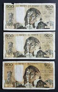 FRANCE - FRANCIA - FRENCH NOTES - LOT DE 3 BILLETS DE 500 FRANCS PASCAL - D3.