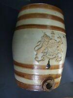 ANTIQUE SALT GLAZED  STONEWARE SPIRIT BARREL W COATS OF ARMS 19TH CENTURY ENGLND