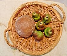 FAUX BREAD AND 5 FAKE GREEN FRUIT PEARS STORE DISPLAY HOME STAGING DECOR LOT