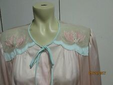 Vintage Lorraine  PEACH  Nylon Button Down  EMBROIDERED Nightgown LARGE