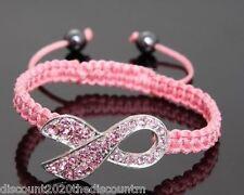 Pink Macrame Breast Cancer Awareness Adjustable Ribbon Bracelet with Rhinestones