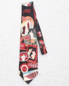 New Coca Cola Coke Neck Tie Silk Retro Sign Bottle Design Blue Red White Fashion
