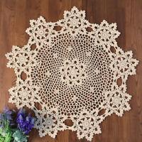 Hand Crochet Lace Doilies Vintage Round Table Topper Mats Cotton Tablecloth 60cm