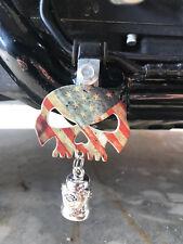 Rustic American Flag Skull Bell Hanger / Mount Motorcycle Harley Bolt & Ring