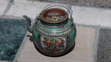 ANTIQUE 19c CHINESE POTTERY POLYCHROME LARGE TEAPOT WITH PLATE-LIKE COVER,MARKED