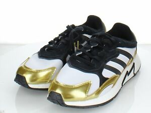 67-14 NEW Men's Sz 10 M Adidas Leather/Textile Sneaker In White/Black/Gold
